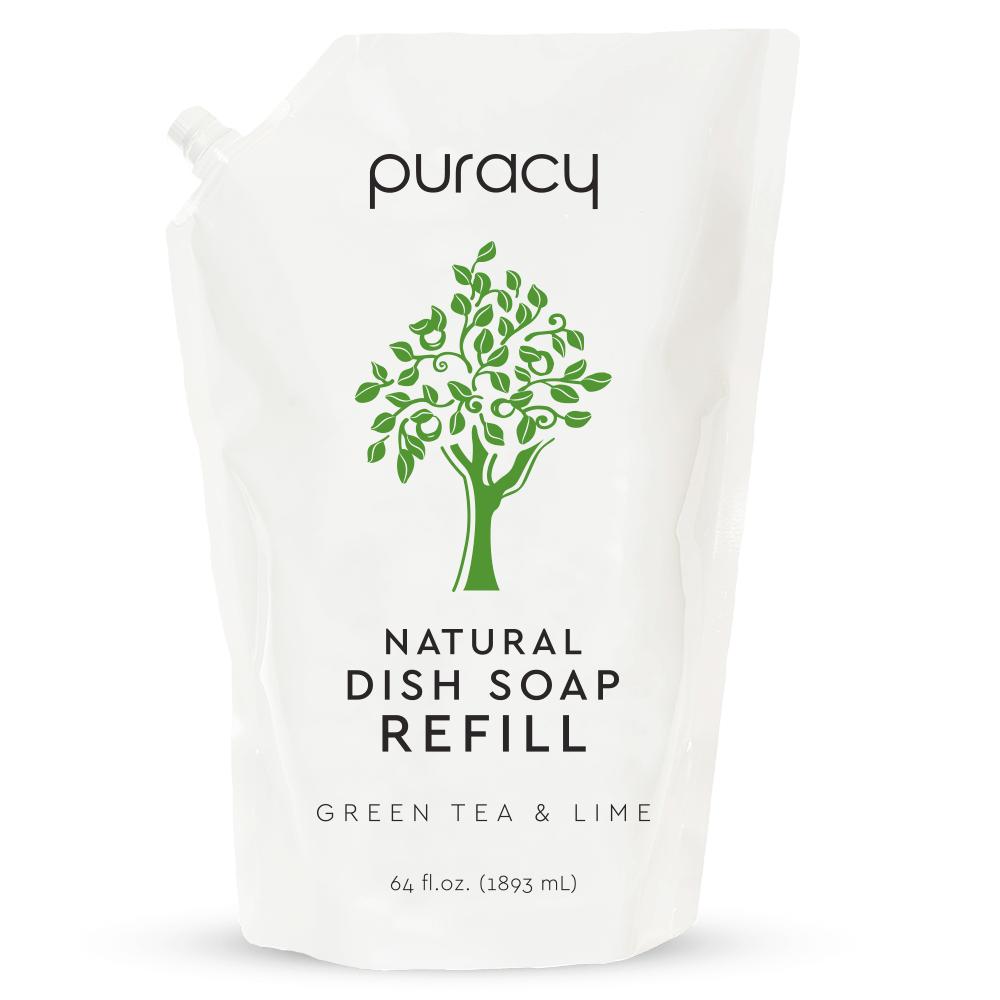 Natural Dish Soap - Green Tea & Lime / 64oz Refill