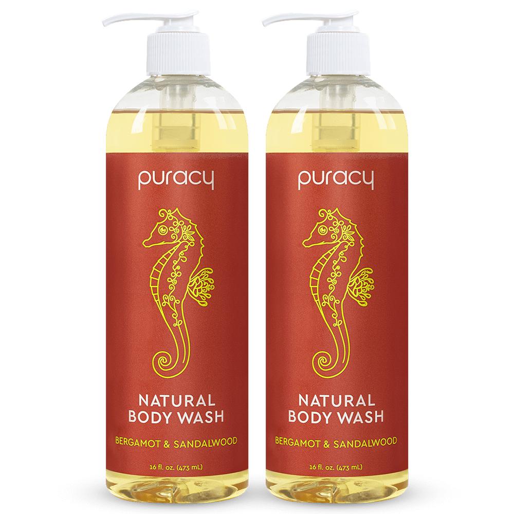 Natural Body Wash - Bergamot & Sandalwood / 16oz (Pack of 2)
