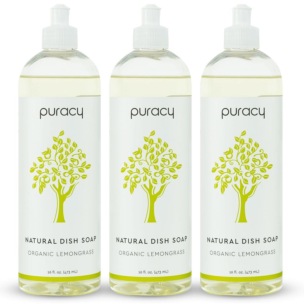 Natural Dish Soap - Organic Lemongrass / 16oz (Pack of 3)