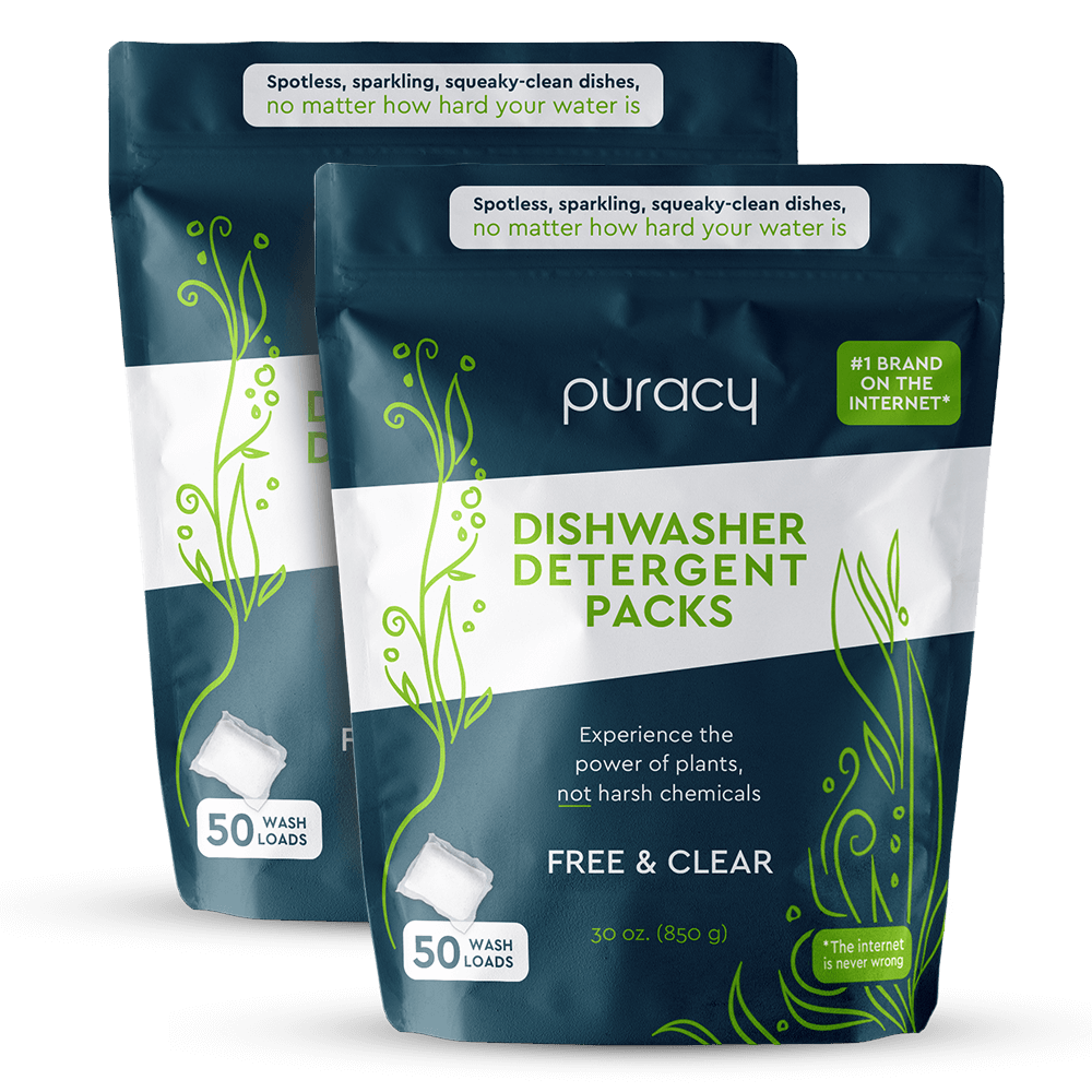 Natural Dishwasher Detergent Packs - Free & Clear / Two Packs of 50
