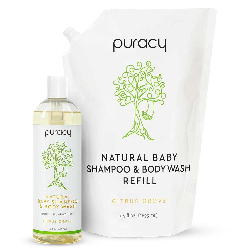 Natural Baby Shampoo & Body Wash - Citrus Grove / 16oz Bottle + 64oz Refill