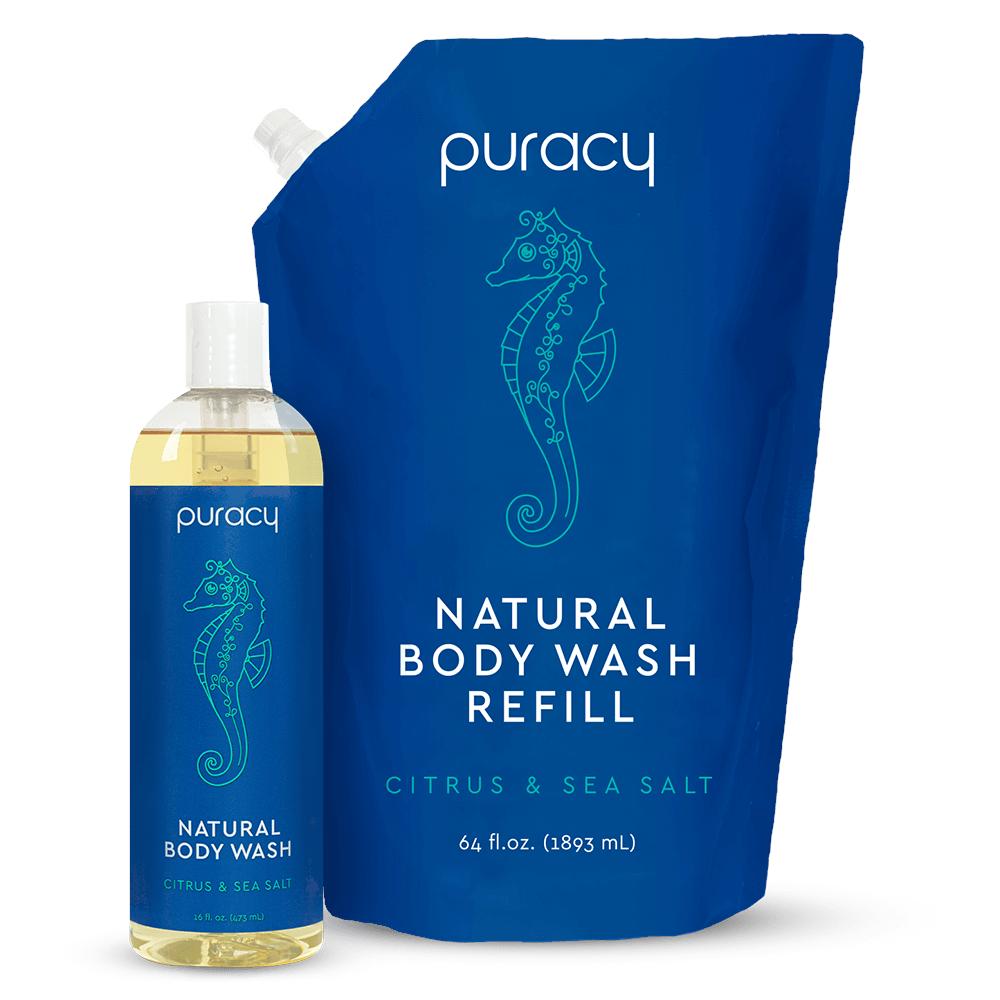 Natural Body Wash - Citrus & Sea Salt / 16oz Bottle + 64oz Refill