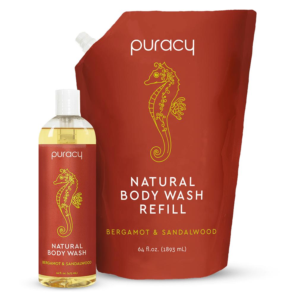 Natural Body Wash - Bergamot & Sandalwood / 16oz Bottle + 64oz Refill