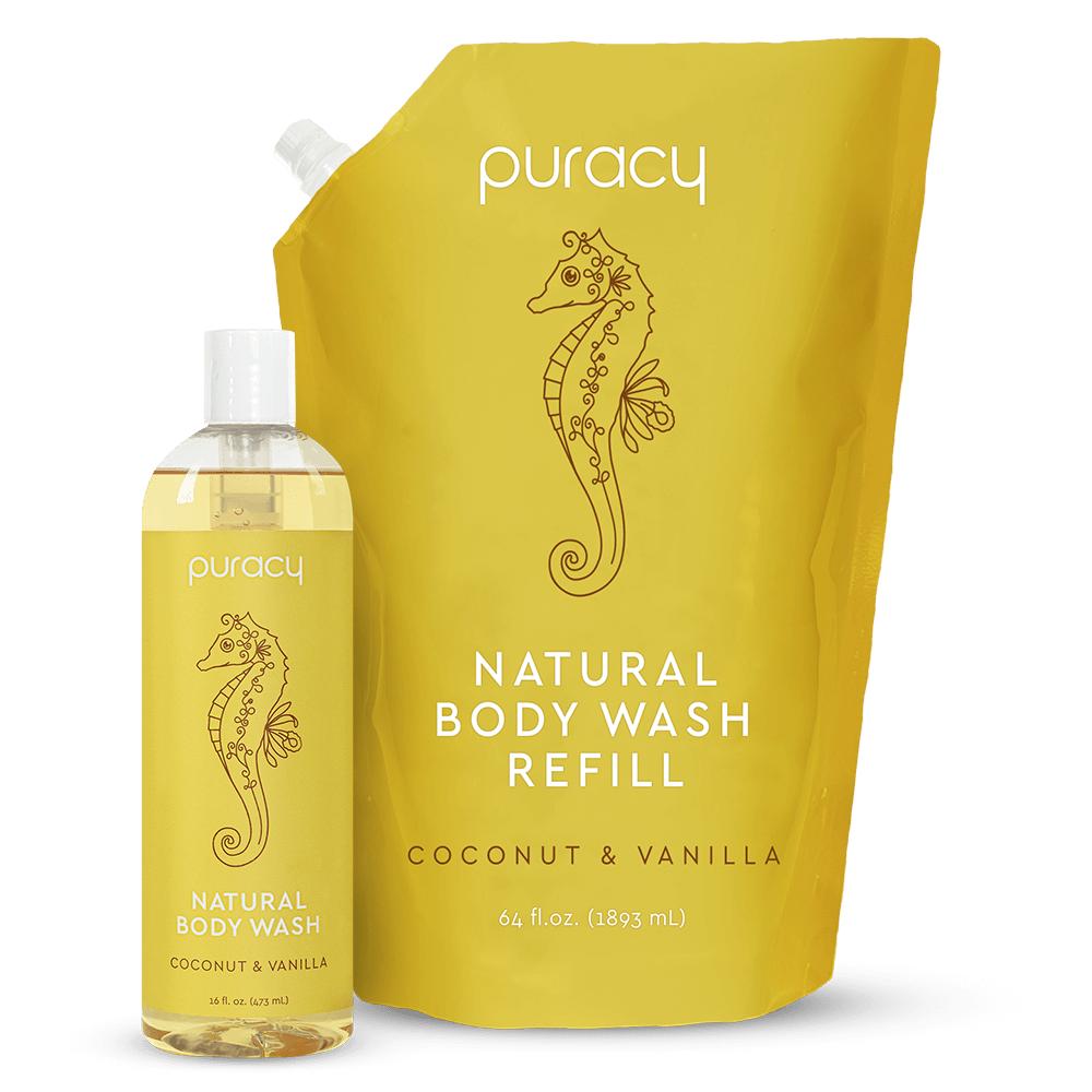 Natural Body Wash - Coconut & Vanilla / 16oz Bottle + 64oz Refill