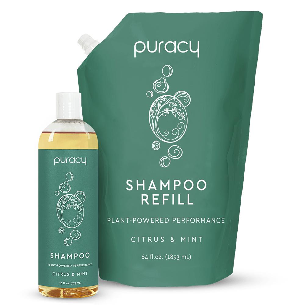 Natural Shampoo - Citrus & Mint / 16oz Bottle + 64oz Refill
