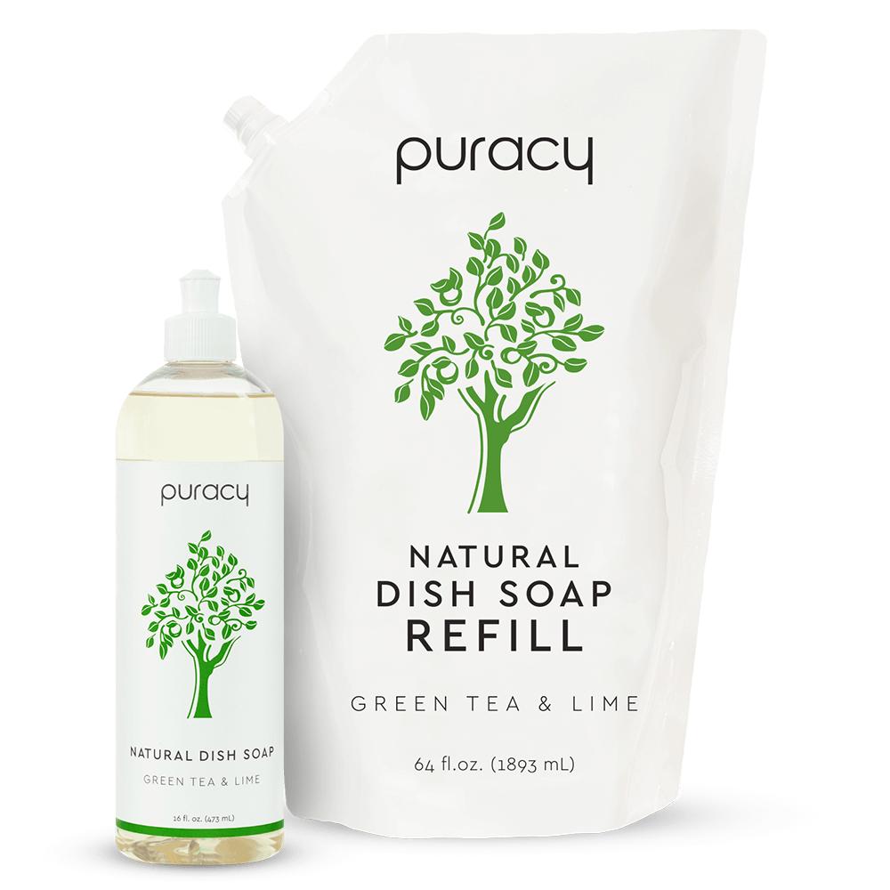 Natural Dish Soap - Green Tea & Lime / 16oz Bottle + 64oz Refill