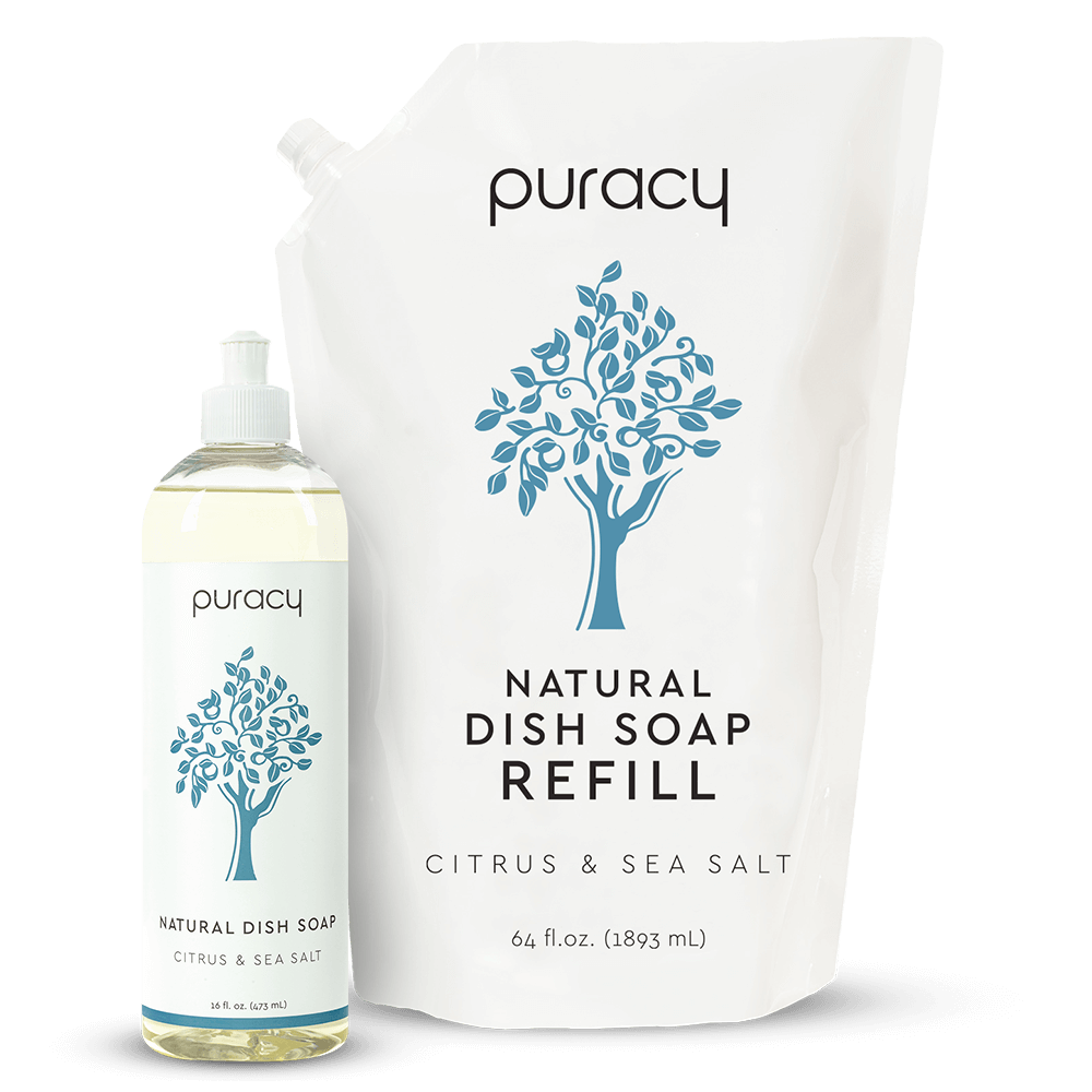 Natural Dish Soap - Citrus & Sea Salt / 16oz Bottle + 64oz Refill