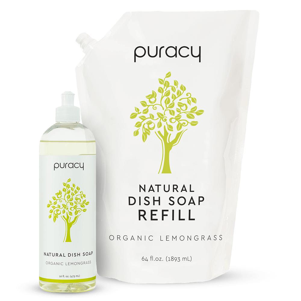 Natural Dish Soap - Organic Lemongrass / 16oz Bottle + 64oz Refill